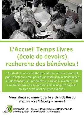 Recherche des bénévoles pour l'Accueil Temps Livres (école de devoirs) !